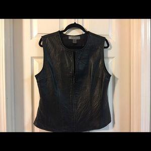 Chandler Hill leather zip vest.